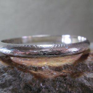 Sterling Silver Bangle Bracelet, Hand Etched